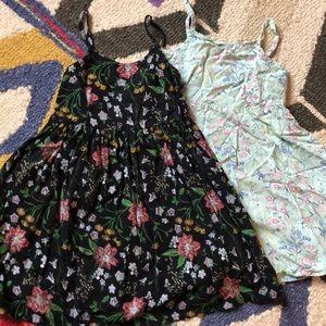 Two boho style floral print dresses 3t rayon